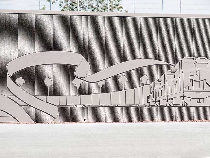 Artist's renderings of images featured on pre-cast concrete walls